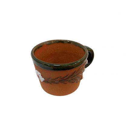 Ceasca din ceramica de Arges realizata manual, Argcoms, Tuica, Pictura cu flori de maces1