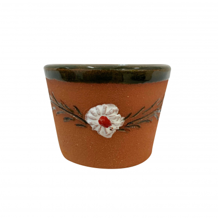 Ceasca din ceramica de Arges realizata manual, Argcoms, Tuica, Pictura cu flori de maces3