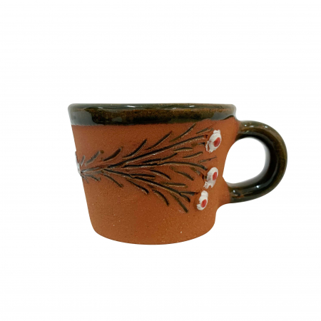 Ceasca din ceramica de Arges realizata manual, Argcoms, Tuica, Pictura cu flori de maces