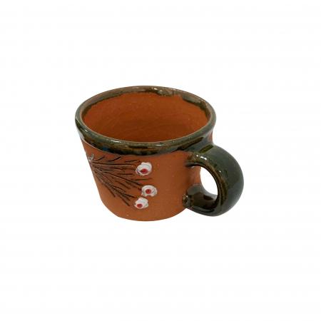 Ceasca din ceramica de Arges realizata manual, Argcoms, Tuica, Pictura cu flori de maces2
