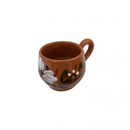 Ceasca din ceramica de Arges realizata manual, Argcoms, Tuica, Pictura florala1