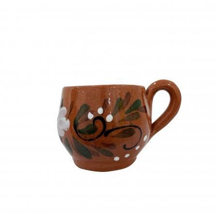 Ceasca din ceramica de Arges realizata manual, Argcoms, Tuica, Pictura florala