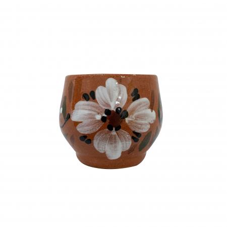 Ceasca din ceramica de Arges realizata manual, Argcoms, Tuica, Pictura florala2