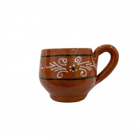 Ceasca din ceramica de Arges realizata manual, Argcoms, Tuica, Pictura traditionala