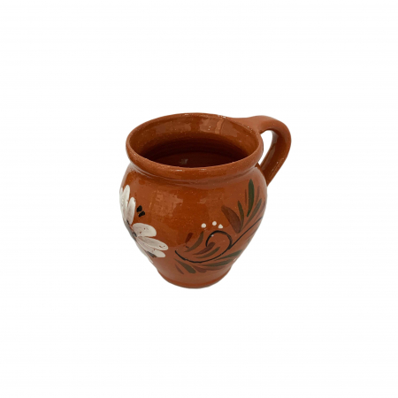 Ceasca din ceramica de Arges realizata manual, Argcoms, Vin, Pictura florala2