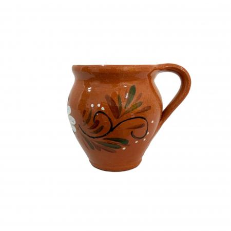 Ceasca din ceramica de Arges realizata manual, Argcoms, Vin, Pictura florala0