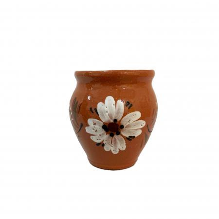 Ceasca din ceramica de Arges realizata manual, Argcoms, Vin, Pictura florala1