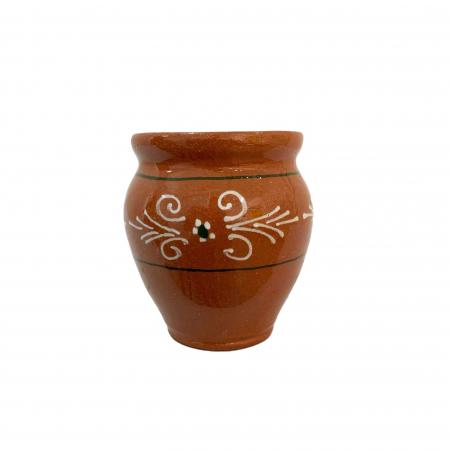Ceasca din ceramica de Arges realizata manual, Argcoms, Vin, Pictura traditionala1