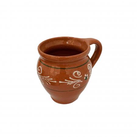 Ceasca din ceramica de Arges realizata manual, Argcoms, Vin, Pictura traditionala2