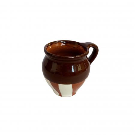 Ceasca din ceramica de Arges realizata manual, Argcoms, Vin, Pictura traditionala, Fond maro2