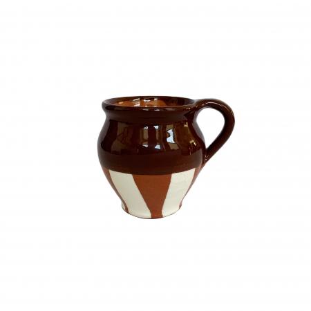 Ceasca din ceramica de Arges realizata manual, Argcoms, Vin, Pictura traditionala, Fond maro0