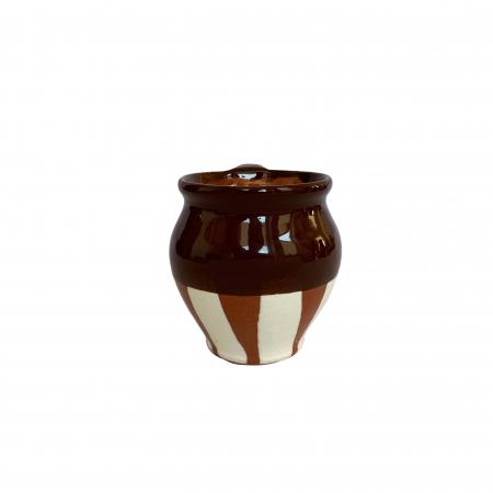 Ceasca din ceramica de Arges realizata manual, Argcoms, Vin, Pictura traditionala, Fond maro1