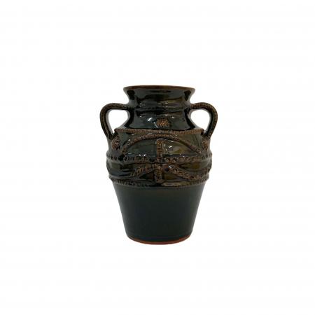 Chiup din ceramica de Arges realizat manual, Argcoms, Glazurat, Cu 2 toarte (1), Decor cu braie0