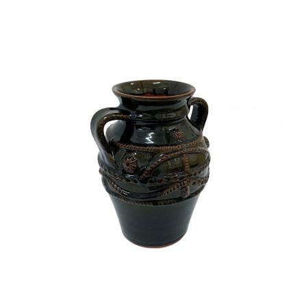 Chiup din ceramica de Arges realizat manual, Argcoms, Glazurat, Cu 2 toarte (1), Decor cu braie2
