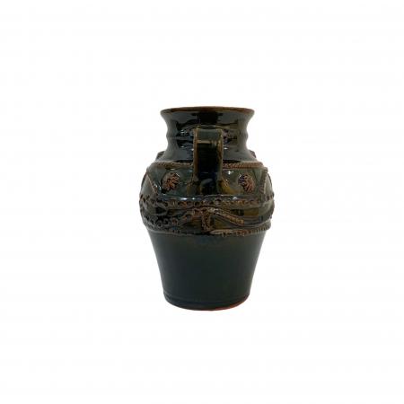 Chiup din ceramica de Arges realizat manual, Argcoms, Glazurat, Cu 2 toarte (1), Decor cu braie1