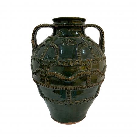 Chiup din ceramica de Arges realizat manual, Argcoms, Glazurat, Cu 2 toarte (3), Decor cu braie0