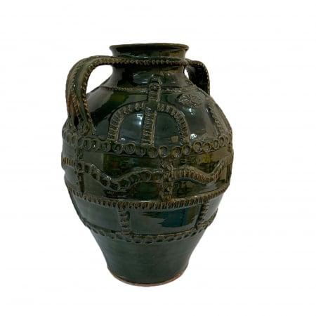 Chiup din ceramica de Arges realizat manual, Argcoms, Glazurat, Cu 2 toarte (3), Decor cu braie2