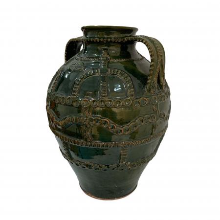 Chiup din ceramica de Arges realizat manual, Argcoms, Glazurat, Cu 2 toarte (3), Decor cu braie1