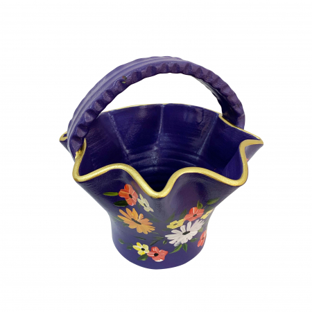 Cos din ceramica de Arges realizat manual, Argcoms, Pictura florala, Mare2