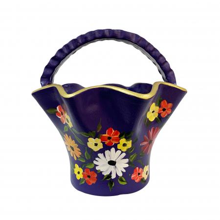 Cos din ceramica de Arges realizat manual, Argcoms, Pictura florala, Mare0