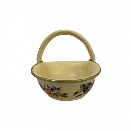 Cos din ceramica de Arges realizat manual, Argcoms, Pictura florala, Mic2