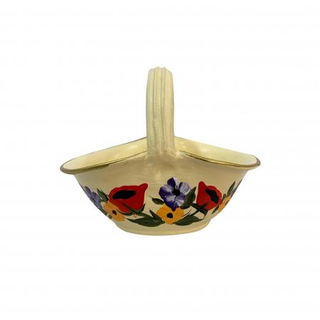 Cos din ceramica de Arges realizat manual, Argcoms, Pictura florala, Mic0