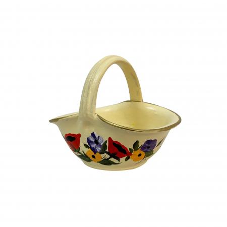 Cos din ceramica de Arges realizat manual, Argcoms, Pictura florala, Mic1