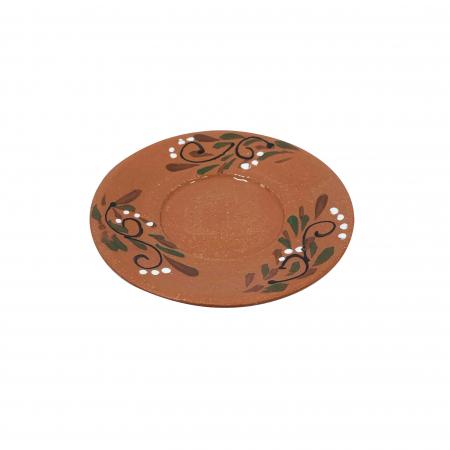 Farfurie din ceramica de Arges realizata manual, Argcoms, Ceasca de cafea, Pictura florala