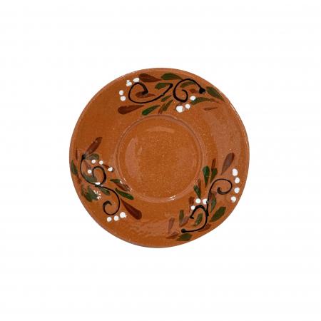 Farfurie din ceramica de Arges realizata manual, Argcoms, Ceasca de cafea, Pictura florala1