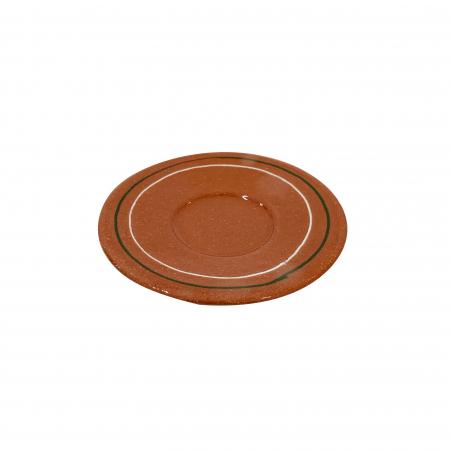 Farfurie din ceramica de Arges realizata manual, Argcoms, Ceasca de tuica, Fond natur