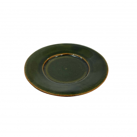 Farfurie din ceramica de Arges realizata manual, Argcoms, Ceasca de tuica, Fond verde