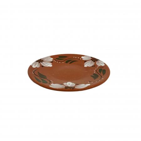 Farfurie din ceramica de Arges realizata manual, Argcoms, Pictura florala, Intinsa, Mare
