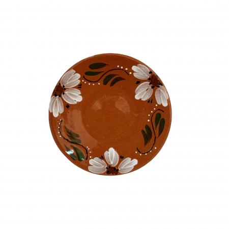 Farfurie din ceramica de Arges realizata manual, Argcoms, Pictura florala, Intinsa, Mare1