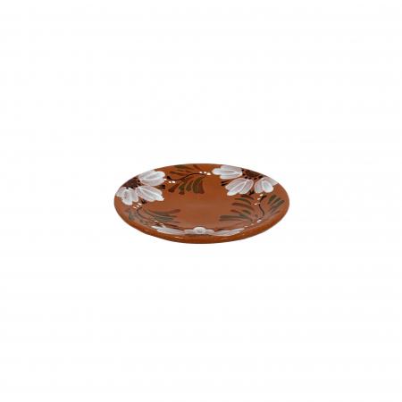 Farfurie din ceramica de Arges realizata manual, Argcoms, Pictura florala, Intinsa, Mica