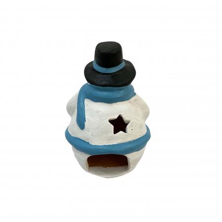 Figurina din ceramica de Arges realizata manual, Argcoms, Om de zapada1