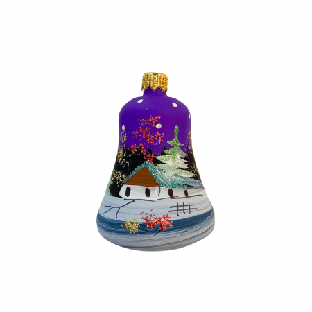Figurina din sticla suflata si pictata manual, Argcoms, Fabrica lui Mos Craciun, Clopotel, Peisaj de iarna, Multicolor0