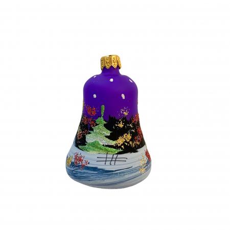 Figurina din sticla suflata si pictata manual, Argcoms, Fabrica lui Mos Craciun, Clopotel, Peisaj de iarna, Multicolor1