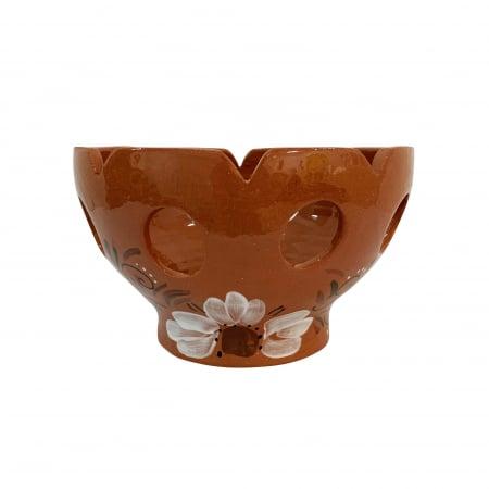 Fructiera din ceramica de Arges realizata manual, Argcoms, Traforata, Pictura florala