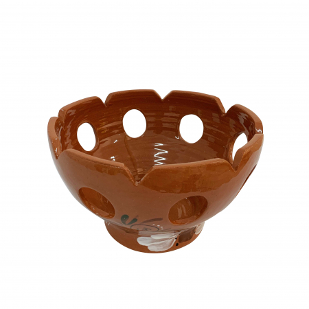 Fructiera din ceramica de Arges realizata manual, Argcoms, Traforata, Pictura florala1