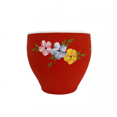 Ghiveci din ceramica de Arges realizat manual, Argcoms, Cana (2), Pictura florala, Ø17 cm1