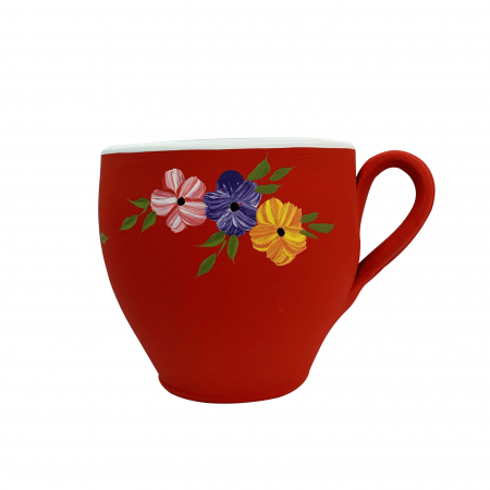 Ghiveci din ceramica de Arges realizat manual, Argcoms, Cana (2), Pictura florala, Ø17 cm0
