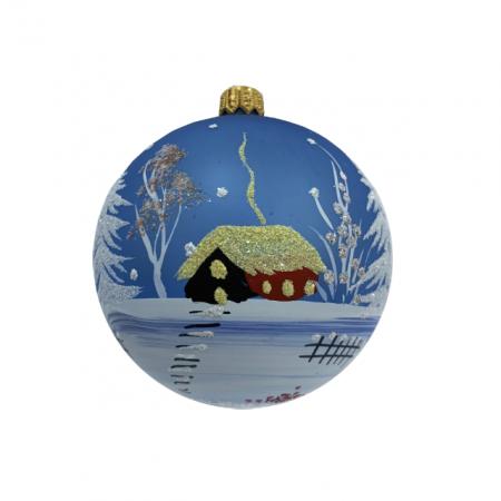 Glob din sticla suflata si pictata manual, Argcoms, Fabrica lui Mos Craciun, Peisaj de iarna, Multicolor, Fond albastru, 80 mm, Sferic2