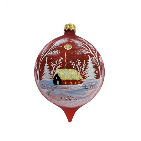 Glob din sticla suflata si pictata manual, Argcoms, Fabrica lui Mos Craciun, Personalizabil, Flori de gheata, Casa padurarului, Multicolor, Fond rosu, 80 mm, Oval0