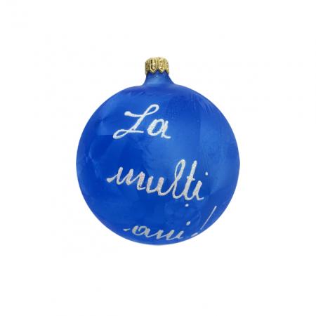 Glob din sticla suflata si pictata manual, Argcoms, Fabrica lui Mos Craciun, Personalizabil, Flori de gheata, Clopotei, Multicolor, Fond albastru, 100 mm, Sferic3
