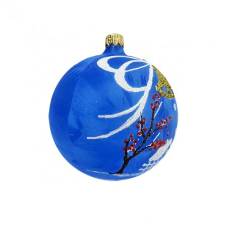 Glob din sticla suflata si pictata manual, Argcoms, Fabrica lui Mos Craciun, Personalizabil, Flori de gheata, Clopotei, Multicolor, Fond albastru, 100 mm, Sferic1