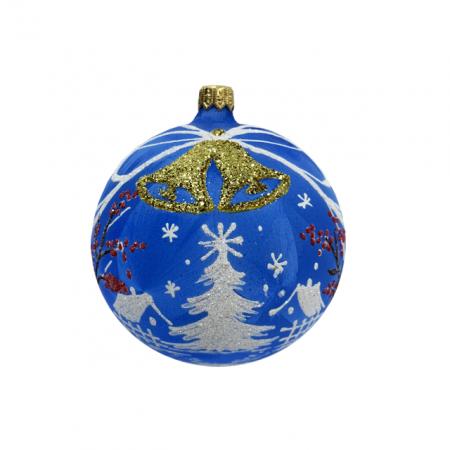 Glob din sticla suflata si pictata manual, Argcoms, Fabrica lui Mos Craciun, Personalizabil, Flori de gheata, Clopotei, Multicolor, Fond albastru, 100 mm, Sferic0