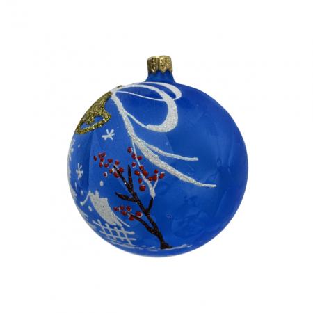 Glob din sticla suflata si pictata manual, Argcoms, Fabrica lui Mos Craciun, Personalizabil, Flori de gheata, Clopotei, Multicolor, Fond albastru, 100 mm, Sferic2