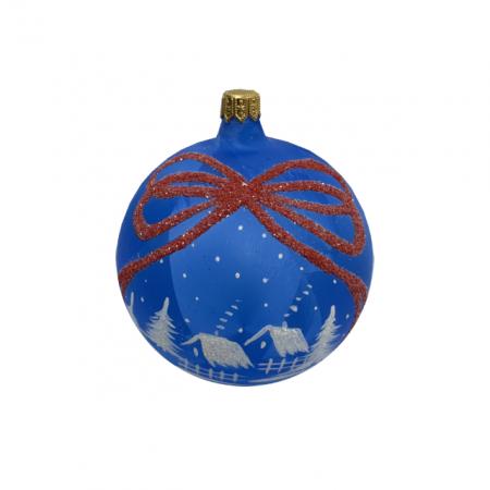 Glob din sticla suflata si pictata manual, Argcoms, Fabrica lui Mos Craciun, Personalizabil, Flori de gheata, Panglica, Multicolor, Fond albastru, 100 mm, Sferic0