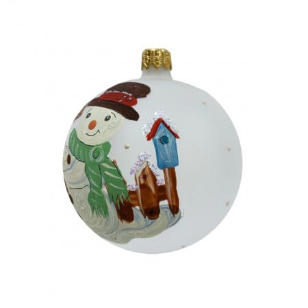 Glob din sticla suflata si pictata manual, Argcoms, Fabrica lui Mos Craciun, Personalizabil, Om de zapada (2), Multicolor, Fond alb, 80 mm, Sferic2