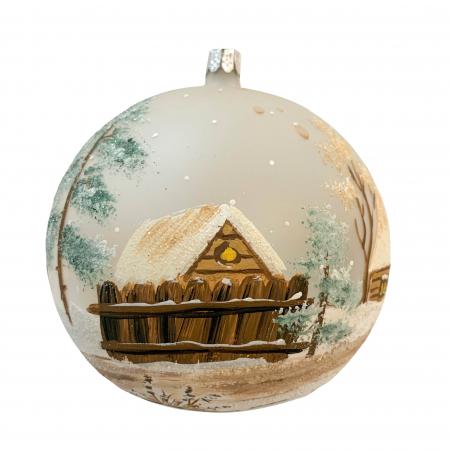Glob din sticla suflata si pictata manual, Argcoms, Fabrica lui Mos Craciun, Asezare rustica, Multicolor, Fond alb, 120 mm, Sferic2